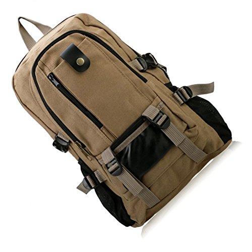 Hombre mochila - SODIAL(R)Hombre retro ocio lona mochila Verde Militar Caqui Oscuro