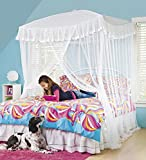 HearthSong® Sparkling Lights Hanging Bed Canopy Play Tent with Interior LED Light String – Kid's Bedroom Decor - Fits Twin to Queen Sized Beds - 58 x 50 - White
