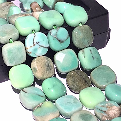 [ABCgems] Rare Australian Chrysoprase AKA Australian Jade (Beautiful Color- Exquisite Matrix) 10mm Small Faceted Square Beads for Beading & Jewelry Making