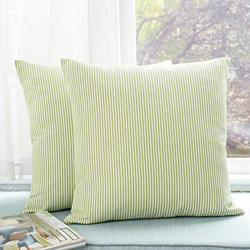 - Foindtower Pack of 2 Decorative Cotton Stripe Throw Pillow Covers Classic Neutral Striped Cushion Cover Rustic Farmhouse Modern Retro Decoration for Sofa Bedroom Chair 18 x 18 Inch Green White