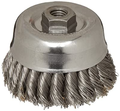 Weiler Wire Cup Brush, Threaded Hole, Steel, Partial Twist Knotted, Double Row