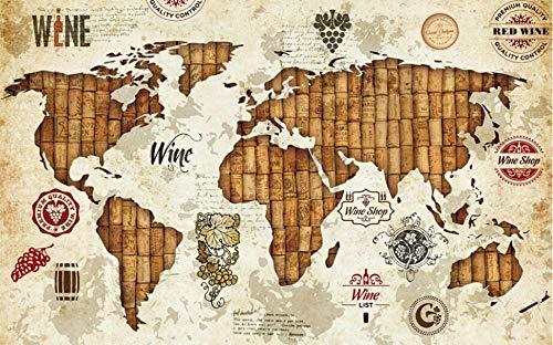Sdefw Wall Stickers & Murals Custom Retro World Map 3D Wallpaper for Walls Red Wine Oak Stopper Wine Restaurant Bar Background Painting Mural Silk Paper 250X175Cm