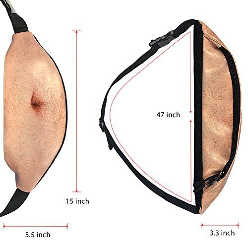 Dad Bag Fanny Fake Hairy Belly Waist Zipper Pack Bags Unisex Mens Hip Traveling Running Cycling Outdoor Fanny Beer Belly Bumbag with Adjustable Belt (01-The Allen) by Yueshion (Image #1)
