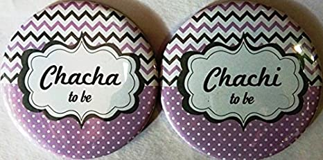 Buy Baby Shower Badges Chacha Chachi Set Of 2a Online At Low Prices