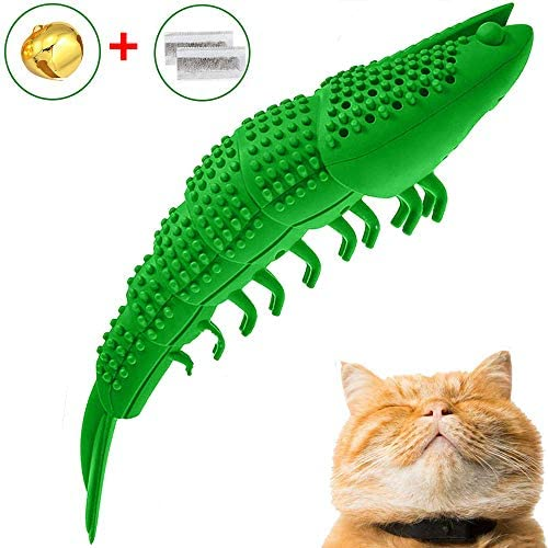 GCXSBF cat Toy pet Toothbrush Cleaning Toy cat New Interactive Mint Flavor Silicone Crayfish Shape pet Toy 2