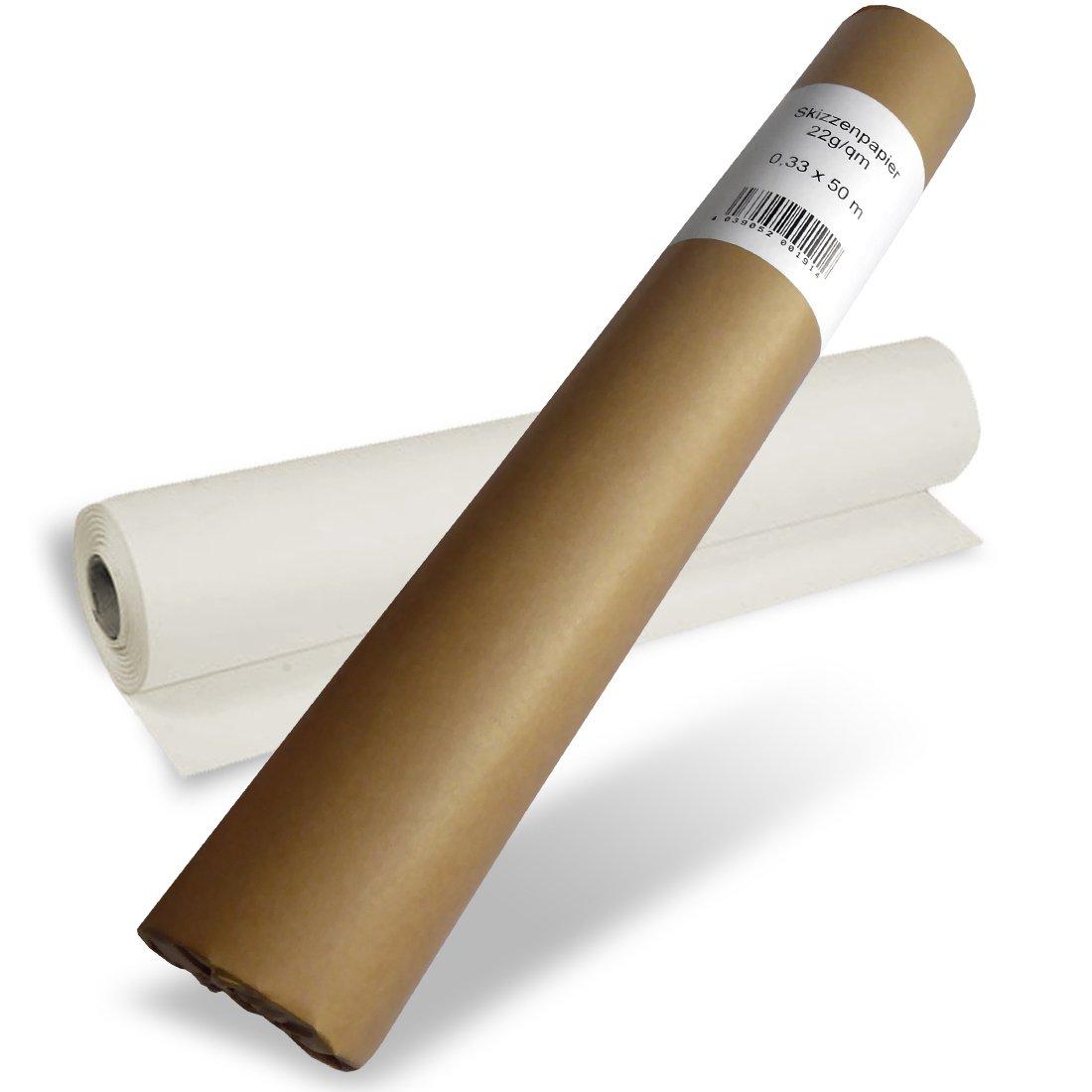 Papier calque pour esquisse en rouleau 33cm x 50m - 22g/m2 Polytek