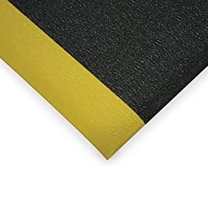 Wearwell Soft Step Anti-Fatigue And Safety Mat - Custom-Cut Size - 4'W - Black With Yellow Border - 6