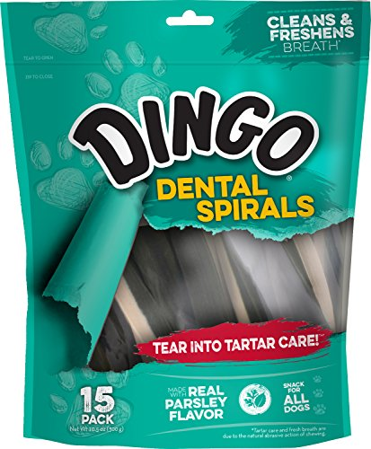 Dingo Tartar and Breath Dental Spirals for All Dogs, 15-Count