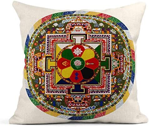 Vendedor de Estados Unidos-Juego de 2 Funda De Cojín Almohada Decorativa Mandala Budismo Tibetano