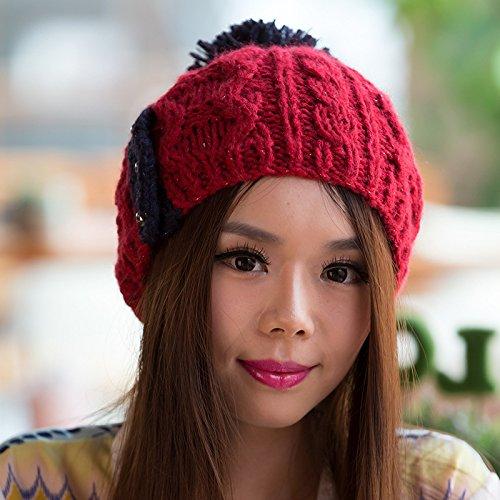Maozi Patrones Coreana de Red Knit Sombrero Versión otoño Bola Invierno el Moda de Grande del para RED rgwqrnE5