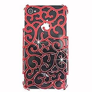 ZLXUSA (TM) Hollow-Out Palace Decorative Pattern Back Cover for iPhone 4/4S Red