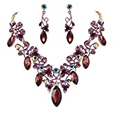 BriLove Women's Bohemian Boho Statement Necklace Dangle Earrings Jewelry Set with Crystal Floral Vine Leaf Deep Amethyst Color Gold-Tone