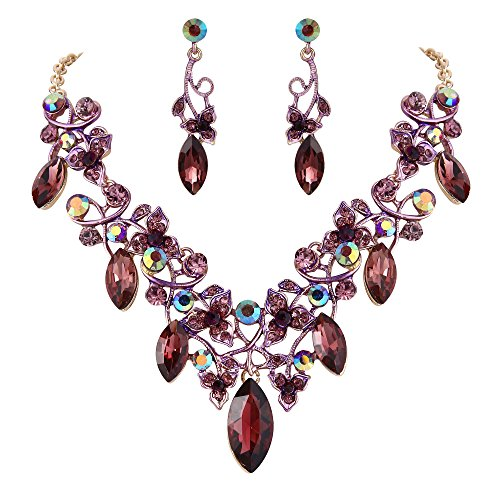 BriLove Costume Fashion Necklace Earrings Jewelry Set for Women Crystal Floral Vine Leaf Statement Necklace Dangle Earrings Set Deep Amethyst Color Gold-Toned