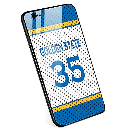 iPhone 6 Cases, Tempered Glass iPhone 6s Case Durant Jersey Pattern Design Black Cover Basketball Sport Case for iPhone 6/6s 4.7 - Golden State ()