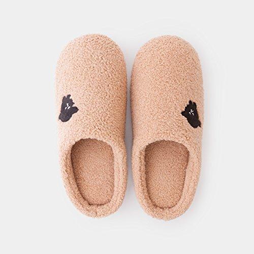cartoon lindo de El zapatos zapatillas Rosa rojoLuz Home interior gruesos zapatos parejas femenina algodón Brown2 peluche DogHaccd antideslizante estancia Zapatillas E6A7q7