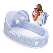 Lulyboo Baby Lounger To Go - Foldable Travel Bassinet - With Canopy, Toy-Bar And Plush Toys (Blue)