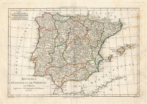 ThePrintsCollector de mapamundi antiguo-Portugal-de la bandera de España-Europa-bonne-1780: Amazon.es: Hogar