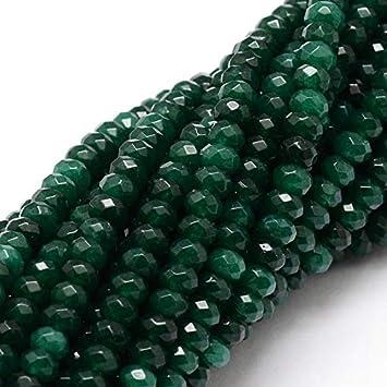 Perlin Piedras Preciosas Perlas ágata Piedra 4 mm Abeto Verde 30 Unidades facetado Rondelle Piedras Preciosas semipreciosas Joyas Perlas G10
