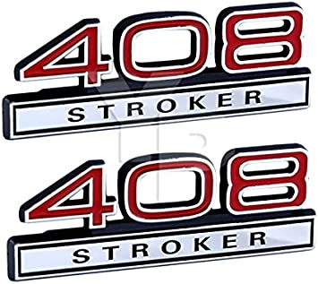 "4/"" Long Pair 347 Stroker Engine High Performance Emblem Badge in Chrome /& Red"