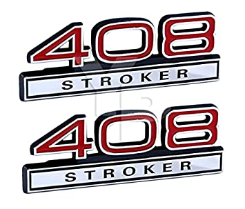 408 6 7 Liter Stroker Engine Emblems in Chrome & Red Trim - 4