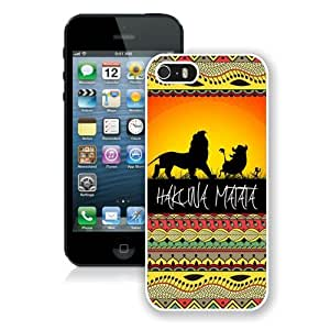 Hot Sale iPhone 5 5S Screen Case ,Hakuna Matata on Sunset Lion King White iPhone 5 5S Cover Unique And Popular Designed Phone Case