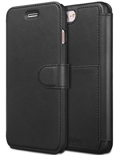 iPhone 8 Plus/iPhone 7 Plus Leather Wallet Case with Metal Magnetic, Slim Fit and Heavy Duty, TAKEN Plastic Flip Case/Cover with Rubber Edge, for Women, Men, Boys, Girls, 5.5 Inch (Black)