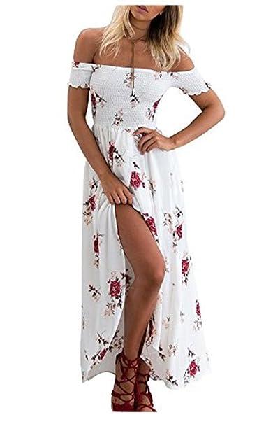 Vestidos Playa Mujer Bandeau Floral Vestido Sexy Hombro Desnudo Split Gasa Vestido para Verano Fiesta Playa