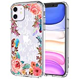 MOSNOVO iPhone 11 Case, Floral Flower with Christian Quotes Pattern Clear Design Transparent Plastic Hard Back Case with TPU Bumper Protective Case Cover for Apple iPhone 11 (2019)