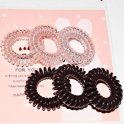 Miya® 6Set Alta Calidad Coletero en color marrón y Crystal Clear, por 3unidades, elástica Cable Telefónico, Mini Espiral de plástico, goma, pelo, Teléfono, de pulsera