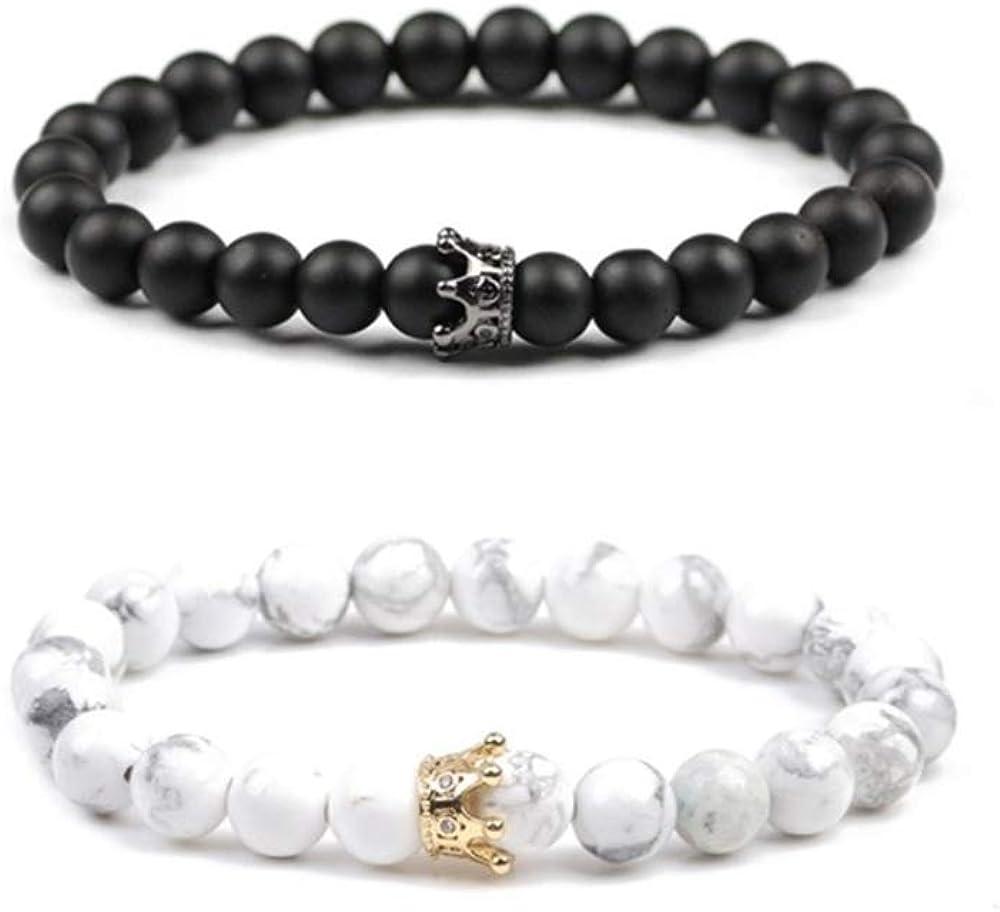 Howlite Blanc Agate Onyx Noir Amiti/é Relation Couples Son Ses Fort /élastique Believe London Distance Bracelets de avec Sac de Bijoux et Carte de Signification