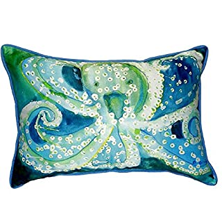 """Betsy Drake SN900 Octopus Small Indoor/Outdoor Pillow, 11"""" x14"""""""