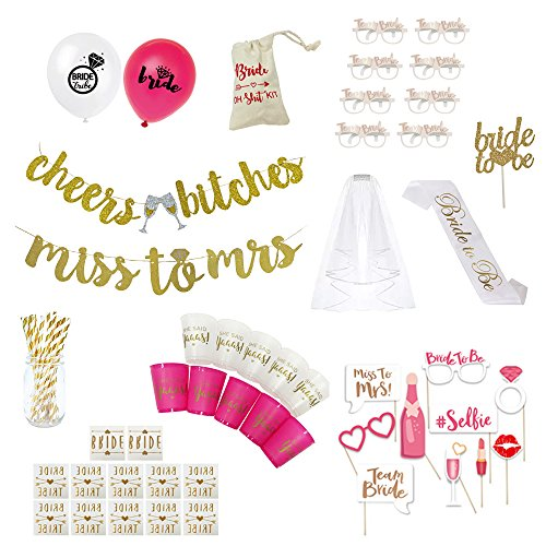 HELP A MAID OUT Bachelorette Party Decorations, 80 items included, Bride to be Sash, Veil + Comb, 10 Cups, 2 Gold Banners, 20 Balloons,10 Photo Props, Cake Topper,10 Paper Glasses, Gold Straws, +More