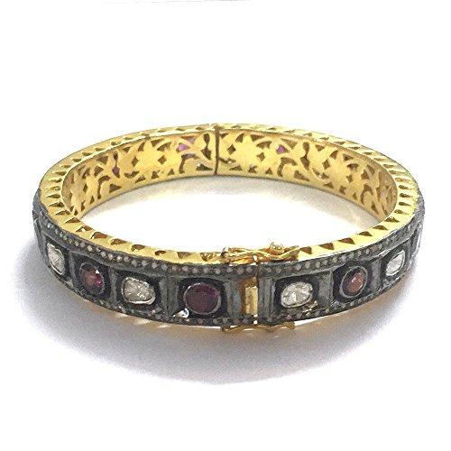 chanvanworld Women's Polki Antique Rose Cut Diamond Bangle Sterling Silver Handmade Ruby Tennis Bracelet Jewelry (Diamond Bangle Rose Cut)