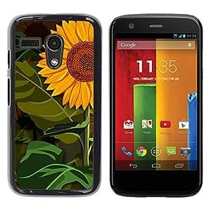 Standing Tall En medio de bosques - Metal de aluminio y de plástico duro Caja del teléfono - Negro - Motorola Moto G 1 1ST Gen