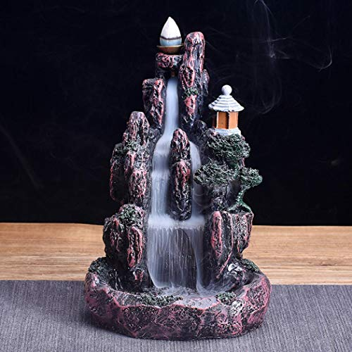 (Mangetal Mountains Incense Burner Waterfall Backflow Incense Burner Holder Incense Stick Holder Home Office Decor with 10 Cones LED Glowing (Style 3))