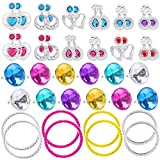 BeYumi 44 Pcs Princess Jewelry Dress-Up Accessories Toy Set with Earrings, Rings, Bracelets, Pretend...