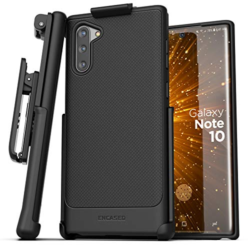 Encased Galaxy Note 10 Belt Clip Case (Thin Armor) Slim Grip Cover with Holster (Samsung Note 10) Black