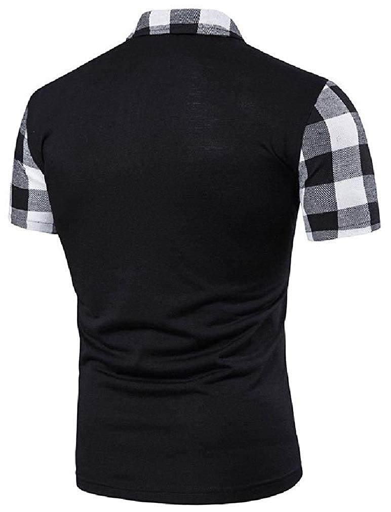 Hajotrawa Mens Polo Shirt Summer Zipper Casual Plaid Short Sleeve T-Shirts
