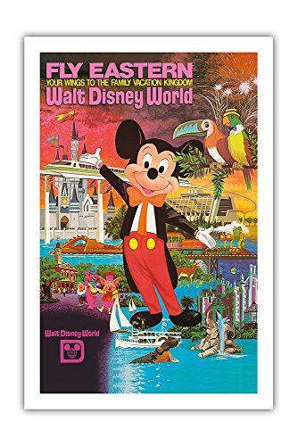 (Pacifica Island Art Walt Disney World - Fly Eastern Airlines - Orlando, Florida - Vintage Airline Travel Poster c.1980 - Premium 290gsm Giclée Art Print 24in x 36in)