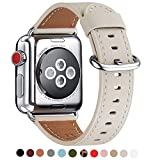 WFEAGL Compatible iWatch Band 38mm 40mm 42mm 44mm, Top Grain Leather Bands of Many Colors for iWatch Series 4,Series 3,Series 2,Series 1 (38mm 40mm, Ivory White Band+Silver Adapter)