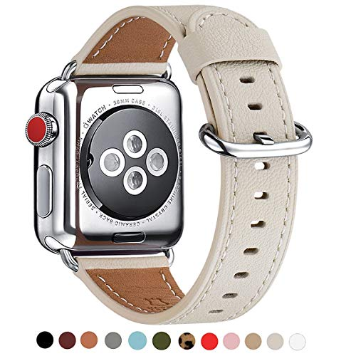WFEAGL Compatible iWatch Band 38mm 40mm 42mm 44mm, Top Grain Leather Bands of Many Colors for iWatch Series 4,Series 3,Series 2,Series 1 (38mm 40mm, Ivory White Band+Silver Adapter) (40mm Watch Band)
