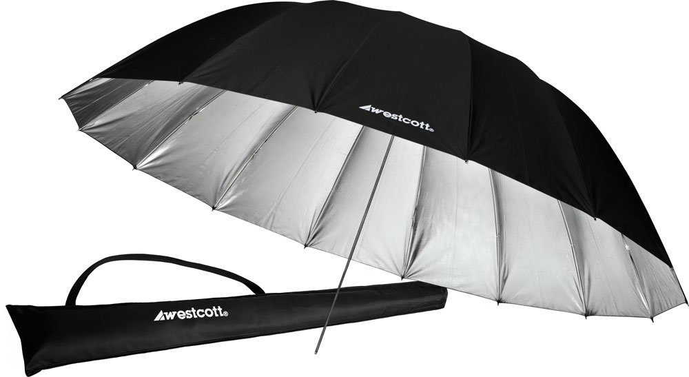 Westcott 4633 7-Feet Silver with Black Cover Parabolic Umbrella
