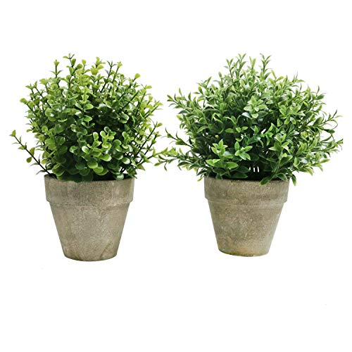 U'Artlines 2 Pack Artificial Plastic Mini Plants Topiary Shrubs Fake Plants with Gray Pot for Bathroom,House Decorations,2 Styles (2pcs Pattern 2) (2 Potted Plant)