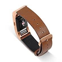 UMTELE Genuine Leather Band Replacement Strap with Metal Buckle Clasp for Fitbit Charge 2 HR, Large, Rose Gold w/ Brown