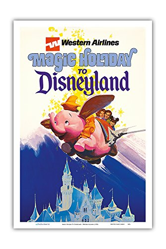 Disneyland Magic Holiday - Western Airlines - Dumbo The Flying Elephant - Vintage Airline Travel Poster c.1970s - Master Art Print - 12in x ()