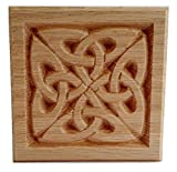 "Set of 4:Carved Celtic""Quad Knot"" Rosette Blocks, Made in USA (3.5""x3.5"" RED Oak)"