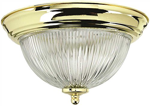 Holophane Dome Ceiling Fixture, Polished Brass, 15-3/8 in, Uses 3 60-Watt Base Lamps - Monument 2487030