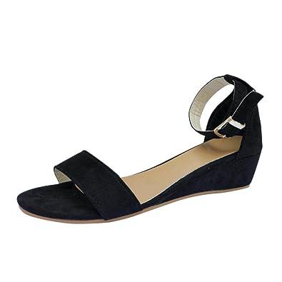 87c9c9ce51 Sandals Ladies Jamicy Summer Flats Women Buckles Ankle Strap Casual Roman  Shoes (35, Black