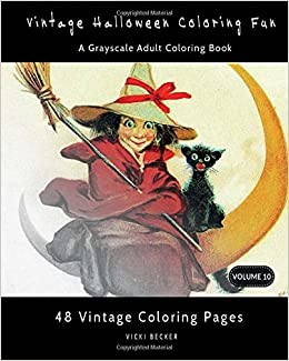 vintage halloween coloring fun a grayscale adult coloring book grayscale coloring books volume 10
