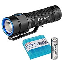 Olight S1A Baton Max 600 Lumens Compact EDC AA LED Flashlight with a Lithium Iron AA battery & LumenTac AA Battery Organizer